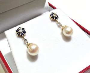 DeWitt's Yellow Gold Earrings With Diamonds Blue Sapphires & Pearls