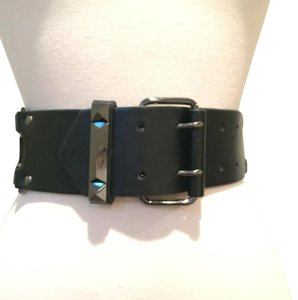 BCBGMAXAZRIA BCBG black leather & elastic waist belt