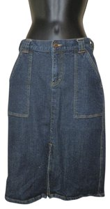 Calvin Klein Slit Stretchy Cotton Skirt Blue Jean