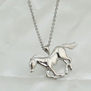 Silver Running Horse Necklace Free Shipping