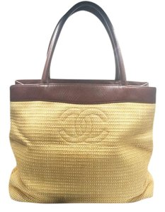 afc7c90afb7624 Chanel Shoulder Bag. Chanel Vintage and Fabric Shopping Tote Beige Brown Straw  Leather ...