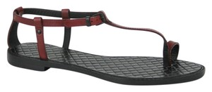 Bottega Veneta Leather Thong Woven Red/Black Sandals