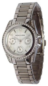 Michael Kors NEW WOMENS MICHAEL KORS (MK5612) MINI BLAIR SILVER GLITZ CHRONO WATCH
