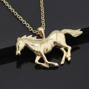 Gold Running Horse Necklace Free Shipping