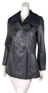 Calvin Klein Leather Duster Removable Collar Leather Jacket