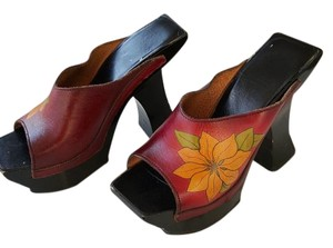 John Fluevog Chunky Hand Painted Fuchsia Leahter and Black Heel Platforms