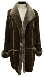 Givenchy Vintage Suede Faux Fur Buttons Fur Coat