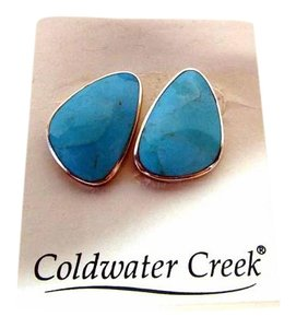 Coldwater Creek Sterling Silver Genuine Organic Turquoise Stone Earrings