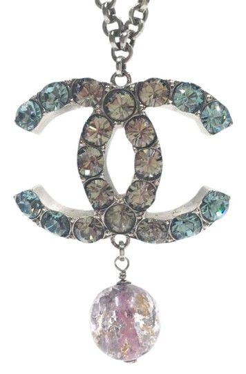 Preload https://img-static.tradesy.com/item/19659495/chanel-gunmetal-turquoise-clear-crystal-cc-pink-glass-large-pendant-necklace-0-1-540-540.jpg