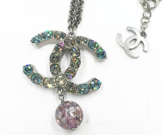 Chanel Chanel Turquoise Clear Crystal CC Pink Glass Large Pendant Necklace