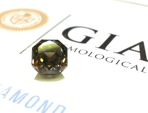 GIA G.I.A. Certified 1.22 Carat Fancy Dark Grey Yellowish-Green Diamond