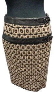 Etcetera Wool Lined Geo Print Pencil Buckle Accent Sma7224 Skirt Black Brown