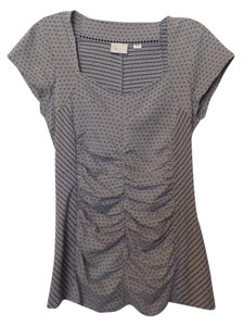 Anthropologie Postmark Ruched Knit Long Top Grey