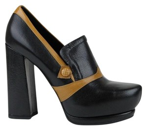 Bottega Veneta Leather Heel Platform Black/Brown Pumps