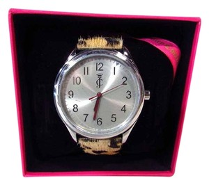 Juicy Couture Darby Leather Print Cow Hair Stainless Steel Watch