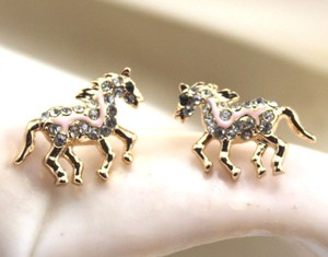 Gold Bogo Free Pink Enamel Rhinestone Horse Er Free Shipping Earrings