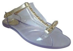 Stuart Weitzman Flat Clear Jelly Sandals