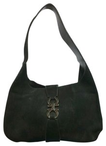 Salvatore Ferragamo Black Suede Shoulder Bag