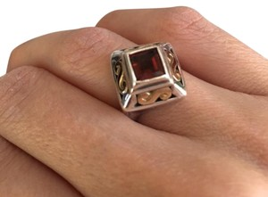 James Avery James Avery Two-Tone Ring, Silver & 18K Gold with Garnet