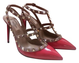Valentino Rockstud Patent Leather Red Pumps