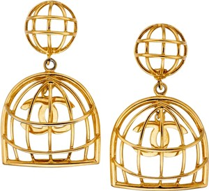 Chanel Gold Earrings with CC in a Bird Cage Clip On Circa 1986