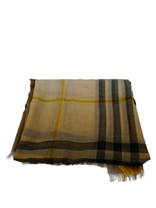 Burberry Burberry Beige Yellow Ombre Nova check Wool Silk Blend Scarf