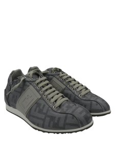 Fendi Trainers Zucco Print Metallic Grey Athletic