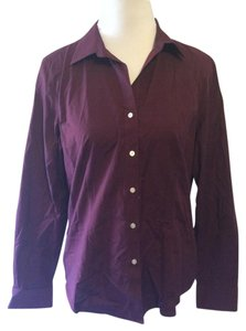 Talbots Wrinkle Resistant Cotton Button Down Shirt Burgundy