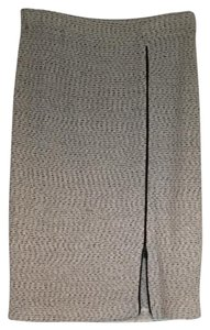St. John Skirt Tweed Gray/Black Leather Piping
