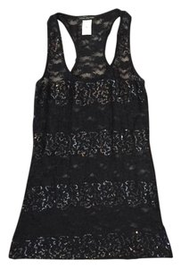 Love Culture Lace Sequin Sheer Top Black