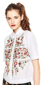 Zara Embroidered Poplin Shirt Button Down Shirt White