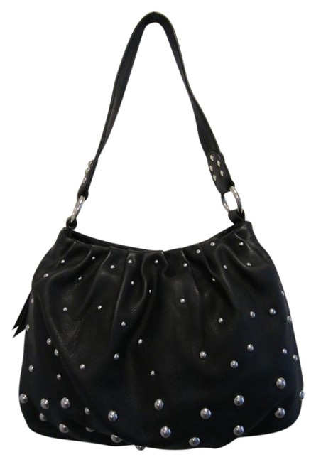 Item - Studded Black and Silver Leather Hobo Bag