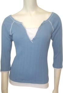 212 Collection New York Henley Mock Twin Small T Shirt Blue