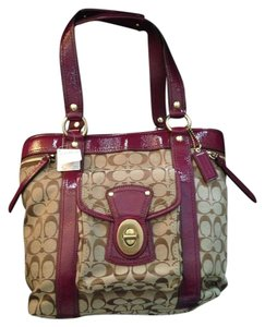 Coach Signature Legacy Tote in Khaki/Plum