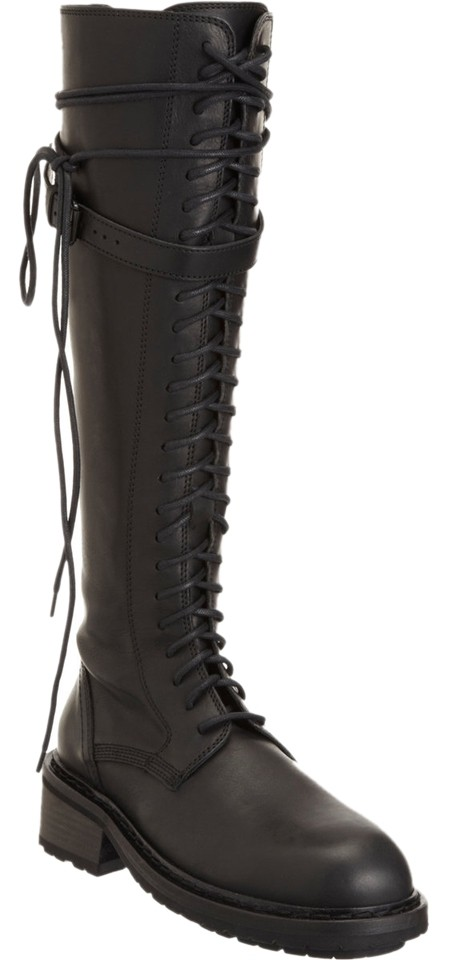 984b51ebc09 Ann Demeulemeester Black Lace Up Knee High Leather Combat Boots Booties