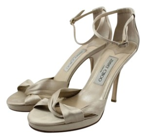 Jimmy Choo Silk Satin Platform Bridal Nude Sandals