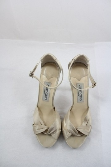 Jimmy Choo Silk Satin Platform Bridal Macy Nude Sandals