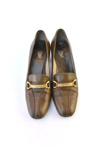 Gucci Brown Leather Loafers Gold Hardware Chain Pumps