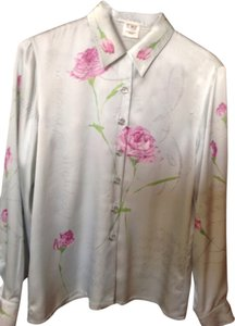 Escada Top Pale blue with pink flowers
