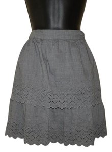 J.Crew Lacey Layered Side Zipper Lined Mini Skirt Gray