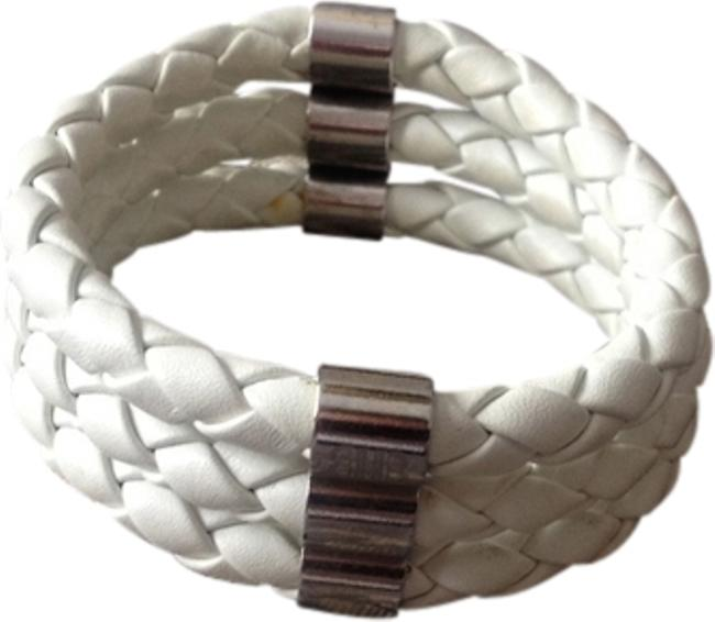 Item - White Leather Tri-band Bracelet