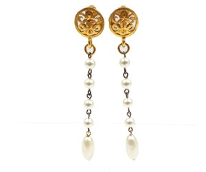 Chanel Vintage Chanel Gold Plated Round Pearl Long Dangle Clip on Earrings