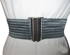 Unknown Pewter Gray Elastic Belt with Silver Buckle