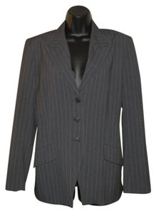 Norma Kamali Gray Pinstripe Lined Polyester Gray striped Blazer