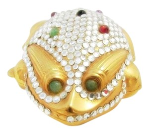 Judith Leiber JUDITH LEIBER FROG PILLBOX VINTAGE TRINKET GOLD WHITE CRYSTALS