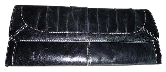 Item - Sl2194001 - Glazed Flap Black-red White Interior Leather and Canvas Clutch
