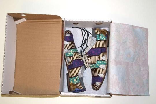 Osborn for Boxing Kitten Colored African Oxfords Dutch Wax Block Fabric Limited Edition Multi Print Flats