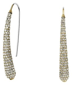 Michael Kors MKJ4027 Statement Women Drop Earrings Gold Tone Crystal Pave