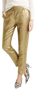 J.Crew Ankle Length Cropped Trouser Pants Gold