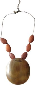 Express Shell Wood and Leather Necklace